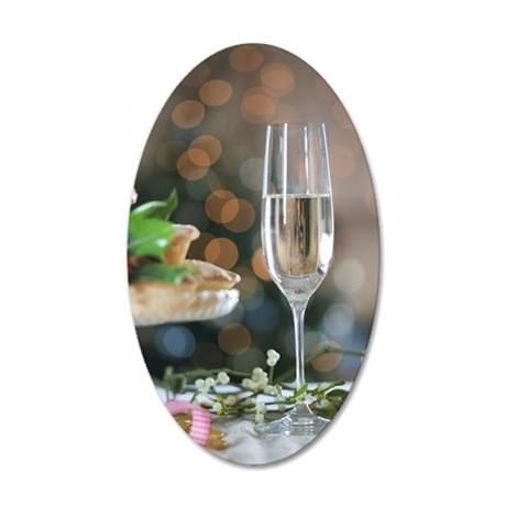 A glass of champagne and mis 35x21 Oval Wall Decal