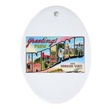 Indiana Greetings Oval Ornament