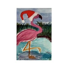 Santa Flamingo Rectangle Magnet (10 pack)