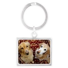 Two loyal Golden Retrievers sit Landscape Keychain