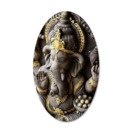 Indian God, Ganesh with gold 35x21 Oval Wall Decal