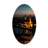 View of Verona, with Adige river a Oval Car Magnet