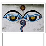 Buddha Eyes on Stupa, Ngadi Bazar Villag Yard Sign