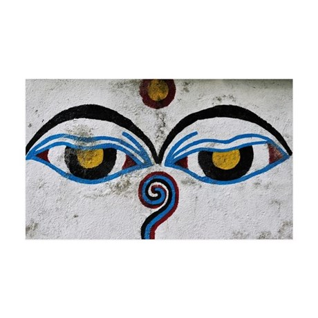 Buddha Eyes on Stupa, Ngadi Bazar 35x21 Wall Decal