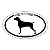 """Weimaraner"" White Oval Decal"