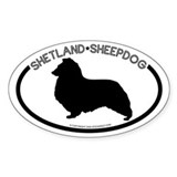"""Shetland Sheepdog"" White Oval Decal"