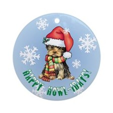 Holiday Yorkie Ornament (Round)