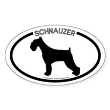 """Schnauzer"" White Oval Decal"