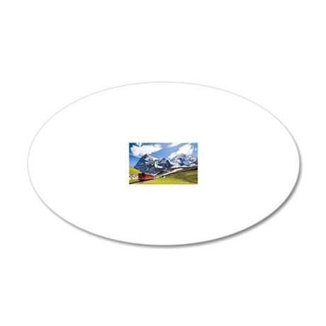 A cog railway to Jungfraujoc 20x12 Oval Wall Decal