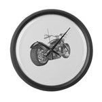 Custom Motorcycle, Hole shot Large Wall Clock