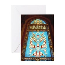 Stained glass window in mosque Greeting Card