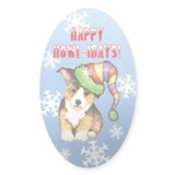 Holiday Corgi Oval Decal