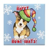 Holiday Corgi Tile Coaster