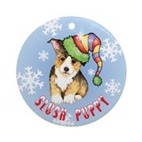 Holiday Corgi Ornament (Round)