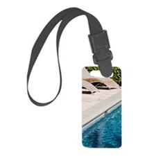 Lounge Chairs Next to Swimming P Luggage Tag