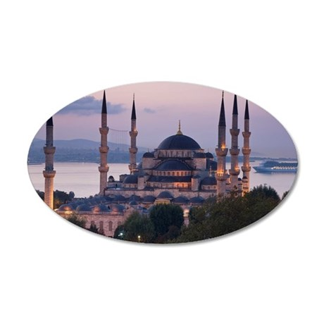 The Blue Mosque, Istanbul, T 35x21 Oval Wall Decal