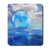 Globe floating over water in clouds Mousepad