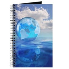 Globe floating over water in clouds Journal