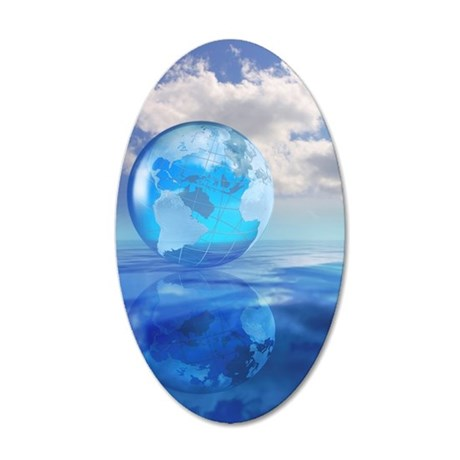 Globe floating over water in 35x21 Oval Wall Decal