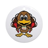 Funny Little Turkey Ornament (Round)