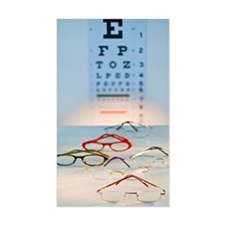 eyeglasses with eye chart in b Decal