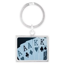Playing cards, close-up Landscape Keychain