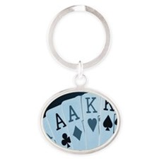 Playing cards, close-up Oval Keychain