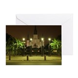 St Louis Cathedral at night, with il Greeting Card