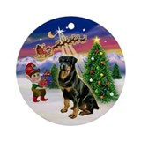 Santa's Take Off & Rottie (3) Ornament (Round)