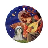 Mandolin Angel & Shih Tzu (4) Ornament (Round)
