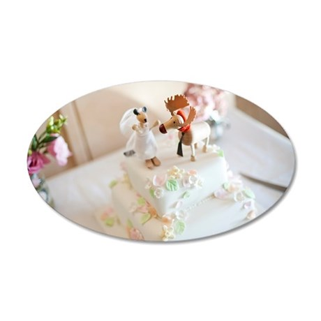 Wedding cake with moose and  35x21 Oval Wall Decal