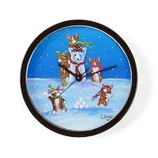 Snow Corgis III Wall Clock