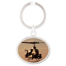 Military Helicopter at Sunset Oval Keychain