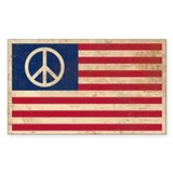PEACE - Retro AMERICAN FLAG Decal