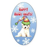 Holiday Bichon Oval Decal