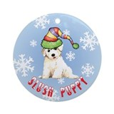 Holiday Bichon Ornament (Round)