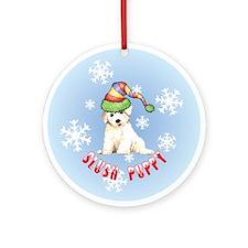 Holiday Bichon Ornament (Round)
