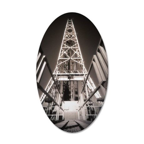 OIL WELL, DERRICK CATWALK 35x21 Oval Wall Decal