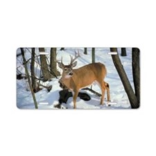 Deer in winter Aluminum License Plate