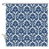 City Blue Damask Shower Curtain