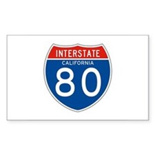 Interstate 80 - CA Rectangle Decal