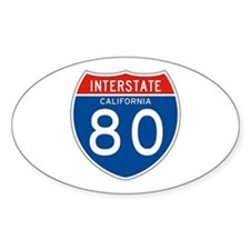 Interstate 80 - CA Oval Decal