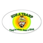 funny tramp design on a Oval Sticker