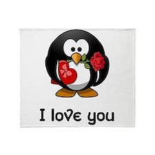 I Love You Penguin Throw Blanket