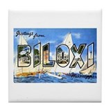 Biloxi Mississippi Greetings Tile Coaster
