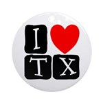 I Love TX Ornament (Round)
