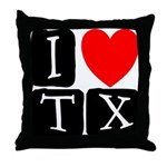 I Love TX Throw Pillow