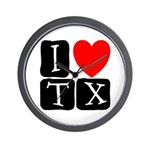 I Love TX Wall Clock