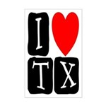 I Love TX Mini Poster Print