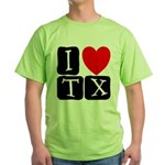 I Love TX Green T-Shirt
